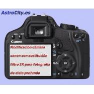 Modificación cámara canon con sustitución filtro IR para astrofotografía