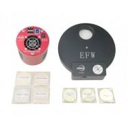 Kit Cámara ASI1600 MM-P refrigerada + rueda porta-filtros 7 EFW + Set 4 filtros LRGB 36mm + (Ha, SII ,OIII) 7nm 36mm